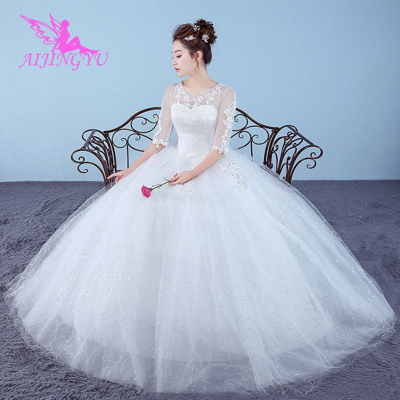 AIJINGYU 2018 Luxury Free Shipping New Hot Selling Cheap Ball Gown Lace Up Back Formal Bride Dresses Wedding Dress WK674