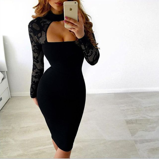 0f479ef01e8f0 US $16.85 10% OFF|2016 Winter lace party dress low cut high neck sexy women  dress autumn black bodycon dress long sleeve white dress vestidos robe-in  ...