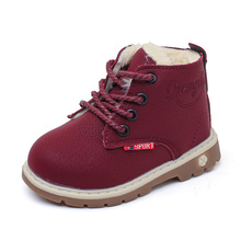 2017 autumn and winter children's plush warm snow boots casual boys non-slip Martin boots fashion girls thicker leather shoes