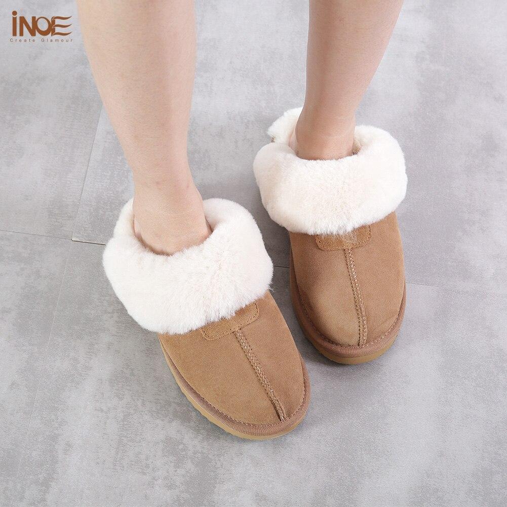 INOE en peau de mouton en cuir doublé de fourrure femmes maison chaussures pantoufles d'hiver en suède intérieur maison chaussures pour femme demi pantoufles de haute qualité - 5