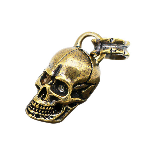 Pure Copper Brass Skull Motorcycle Keychains Charms Pendant Vintage Mens DIY Keychain Key Ring Handmade Leather Accessory