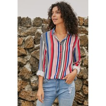 Ladies new unique stripe design lapel single-breasted long-sleeved European and American large size shirt
