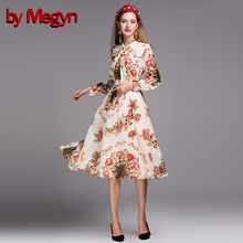 New 2016 Fashion Runway Knee Length Dress Summer Women's Long Sleeve Vacation Party Elegant Cute Floral Print Dress G501