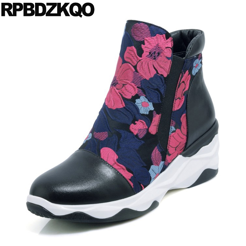 Casual Slip On High Heel Flower Printed Designer Muffin Real Leather Wedge Shoes Women Ankle Boots 2016 Round Toe Fall Floral