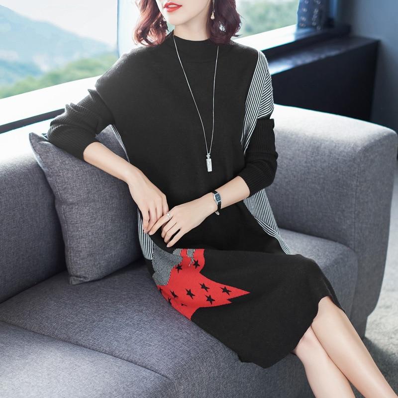 Pull robe hiver 2018 femmes nouveau col roulé à manches longues lâche a-ligne imprimé décontracté tricoté robe genou longueur S-XL