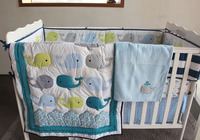 8 Pc Crib Infant Room Kids Baby Bedroom Set Nursery Bedding Blue fish Cot bedding set for newborn baby boy