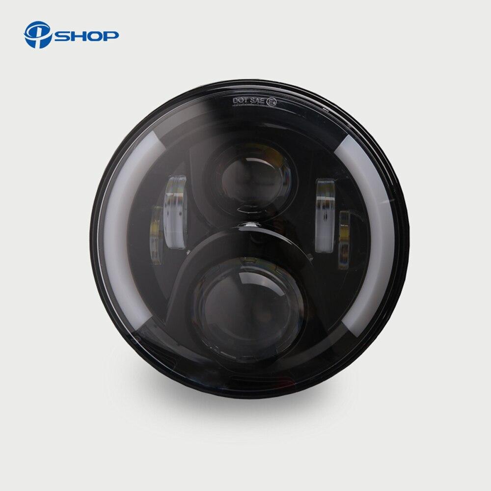 7 Inch LED Headlight Head light lamps H4 - H13 White Halo Angel Eyes For Lada 4x4 urban Niva JK Land rover defender Hummer