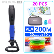 new version 3D PEN bag 3d pen 3d printer pen include 200m pal filament and 20 sheets pattern template with bad easy to carry