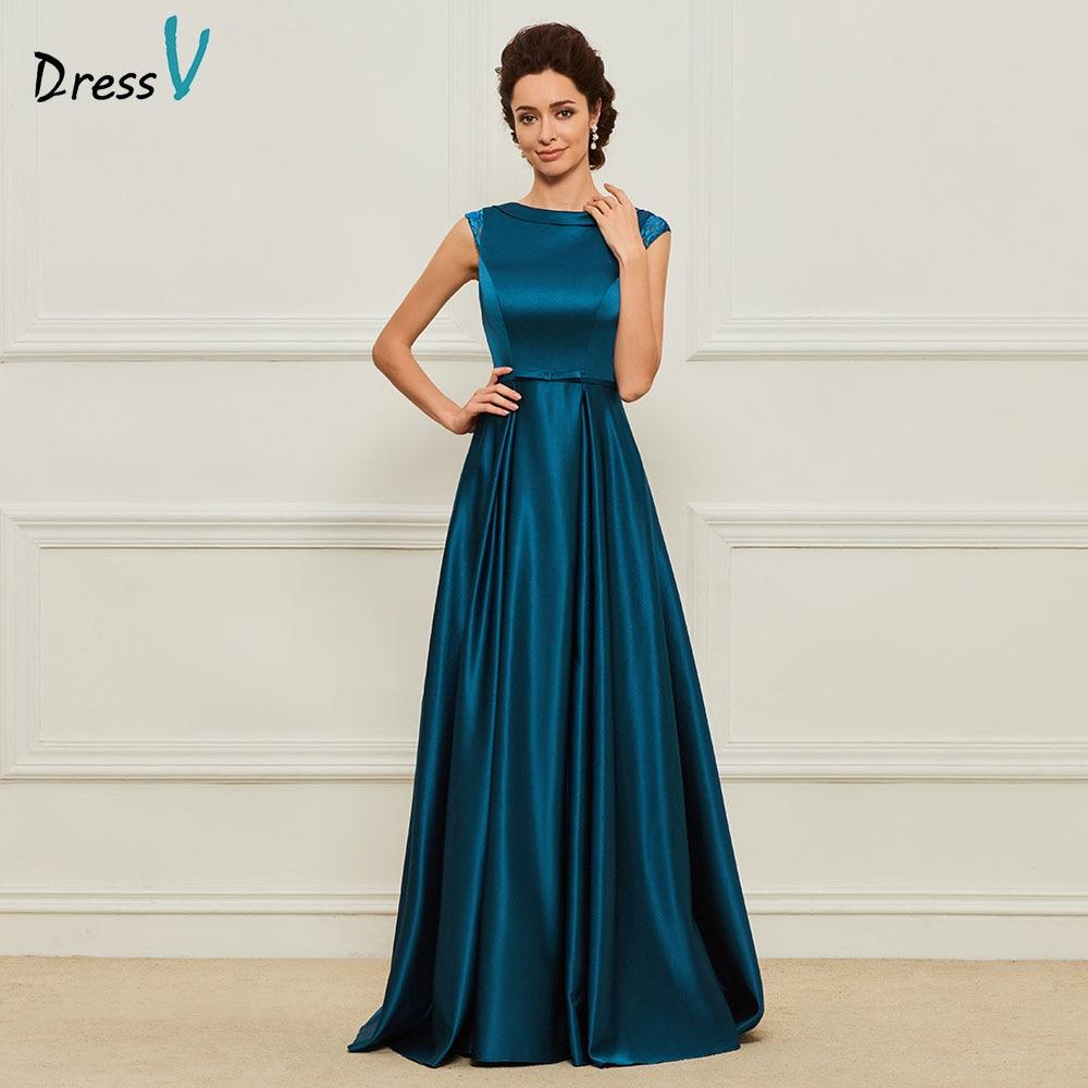 Dressv Elegant Mother Of Bride Dress Scoop Neck Cap Sleeves Lace Sashes Zipper Up Long Mother Evening Gown Dresses Custom