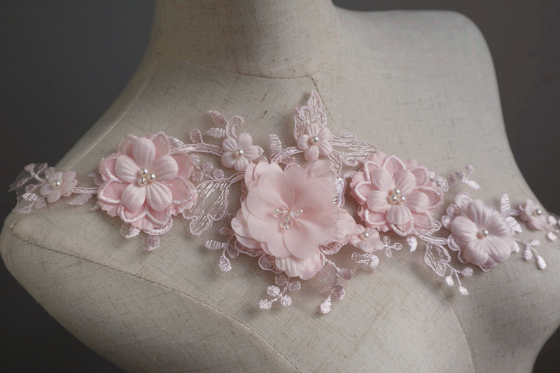 Detail feedback questions about nude pink d flowers lace applique