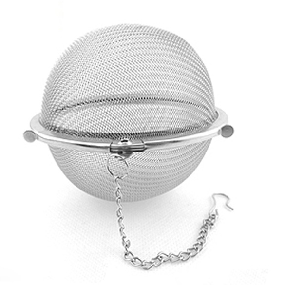 Hot Convenient NEW Tea Stainless Strainer Locking Tea Spice Mesh Stainless Steel Ball Diam 5cm LXY9 DE17