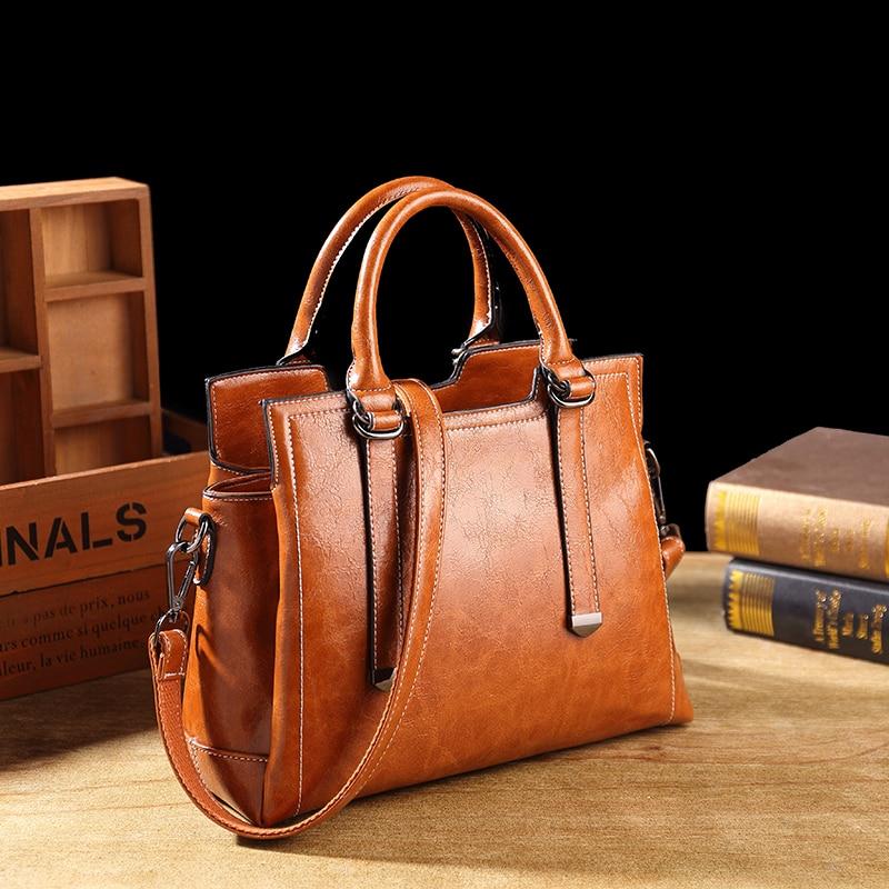 Bolso de mano de cuero genuino para mujer, bolsos de diseño a la moda para mujer, bolso de hombro portátil para mujer, bolsos casuales para oficina para mujer T63