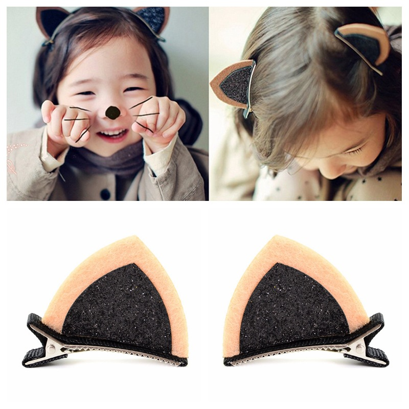 New 1PC Girls Hair Clip Lovely Cat Ear Hairpin Cute   Headwear   Barrettes Hair Accessories for Girls Children Kids