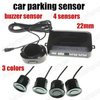 Wholesale 3 colors Universal 12V 4 Parking Sensors switch 22mm Car Reverse Backup Rear Radar System Sound Alarm Indicator|Parking Sensors| |  -