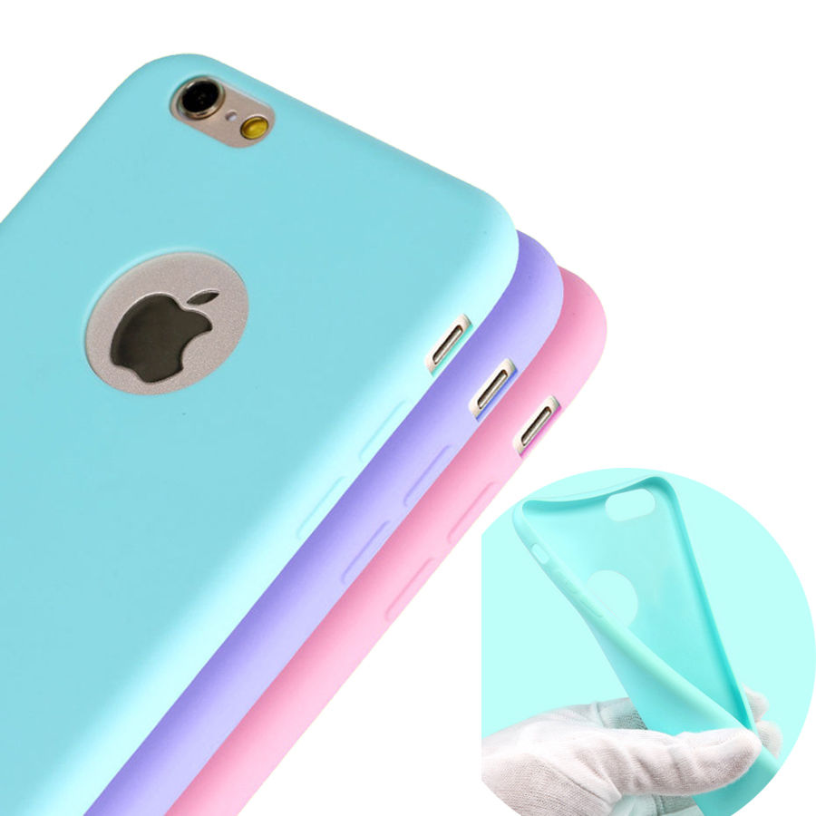 Candy Color Matte Skin Case for font b iPhone b font 6S Plus TPU Rubber Soft