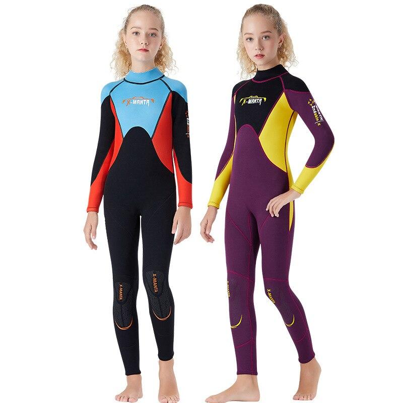 Combinaison néoprène pour enfants combinaisons de plongée enfants maillots de bain manches longues filles garçons surf une pièce plongée en apnée Rashguard combinaison