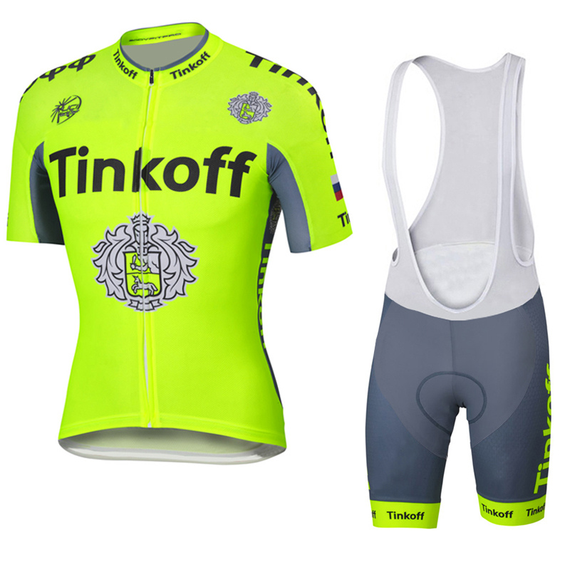 2017 Pro Team Tinkoff Short Sleeve Cycling Jersey Fluo Quick dry Roupa Ciclismo Summer Racing Cycling Clothing Blue Gel Pad