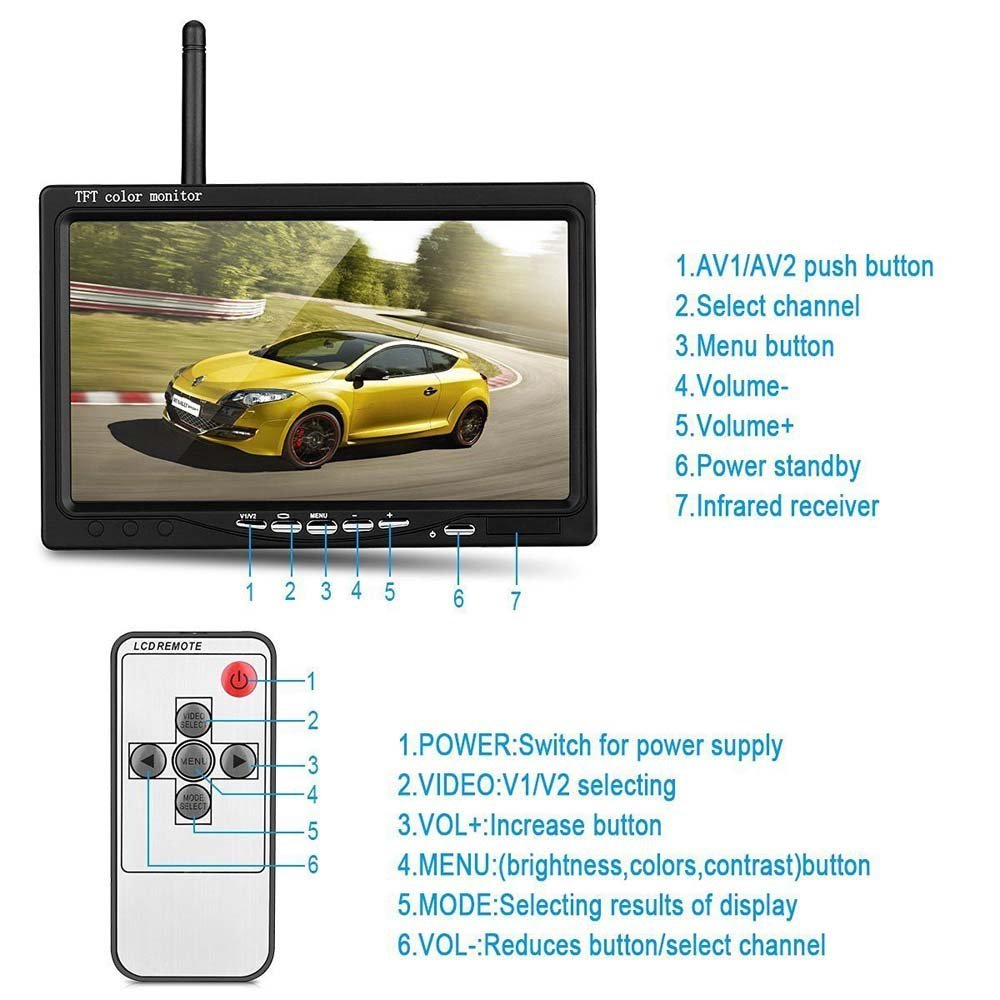 """Image 2 - Podofo Wireless Truck Vehicle Car Rear View Backup Camera 7"""" HD Monitor IR Night Vision Parking Assistance Waterproof for RV RC"""