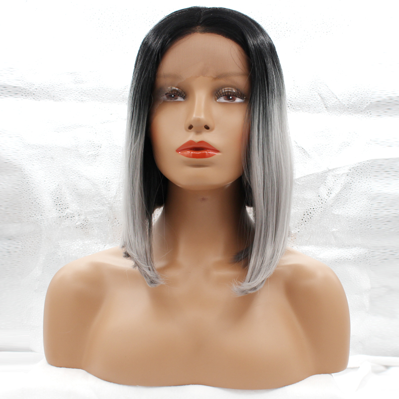 ФОТО DLME Short Bob Natural Straight Synthetic Fiber Dark Roots to Gray 14 inches Lace Front Wig with Neat Hairline