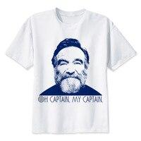LEQEMAO Robin Williams T Shirt Men Cartoon 2017 Cool Funny White Tshirt Print T Shirt Men