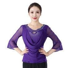 Новые гладкие костюмы для бальных танцев топы для латинских танцев ча-фламенко блузки современные стандартные наряды Танго вальс Сальса Самба Топы