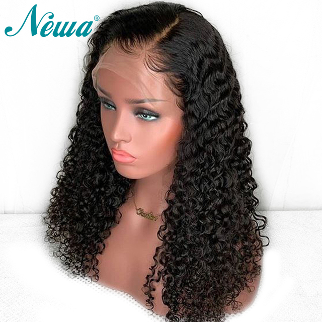 Pelucas de pelo humano frontal de encaje Pre desplumado NYUWA 13x6 con pelo de bebé pelucas delanteras de encaje rizado brasileño para pelucas negras de cabello Remy para mujer
