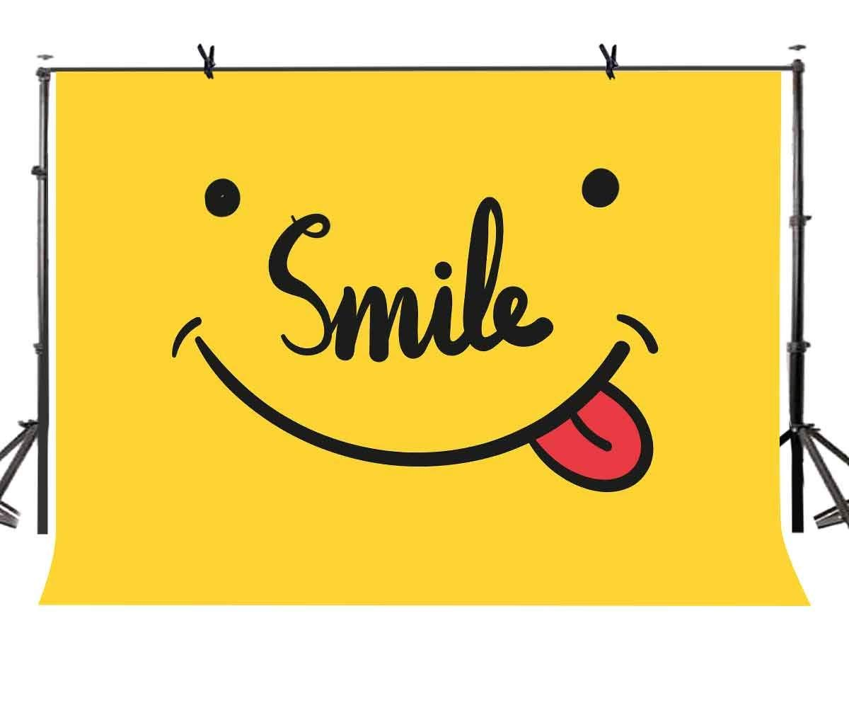 150x220cm Smile Stickers Backdrop Yellow Shading Smile Sticker Cute Photographic Background for Camera Photo Props