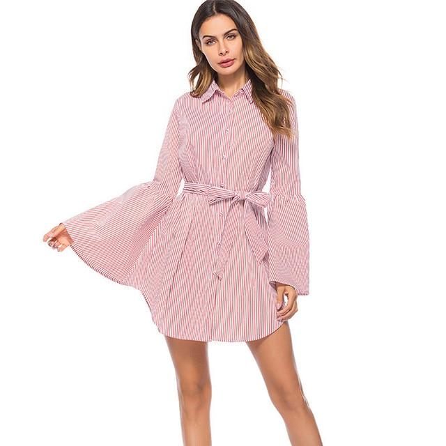 01927bfdceb 2018 Women Autumn Striped Dress Elegant Casual Vintage Sexy Fashion Pink  Office Shirt Dress Plus Size