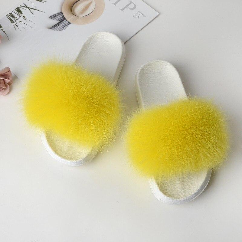 Fur Slides Women's Slippers Home Summer Flip Flops Woman Furry Slippers Ladies Female Shoes Fluffy 2019 Designer Sandals White 2