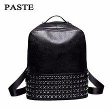 Паста бренд 100% натуральная кожа женщины рюкзак большой емкости для отдыха с заклепками Кожаные женские сумки дизайнерские сумки