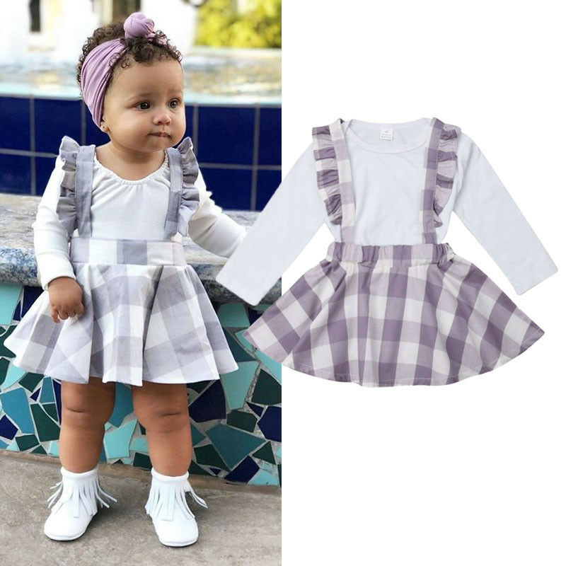 Outfits Romper Dress Suspenders Long-Sleeve Newborn Baby-Girls White 2pcs Autumn Overall-Skirt
