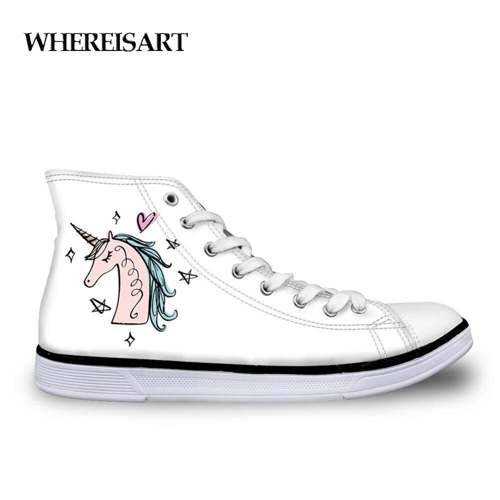 WHEREISART Hand Drawn Unicorn Face Design Women's Flats Shoes Trendy Lace Up Canvas Shoes Girls White Classic Vulcanize Shoes