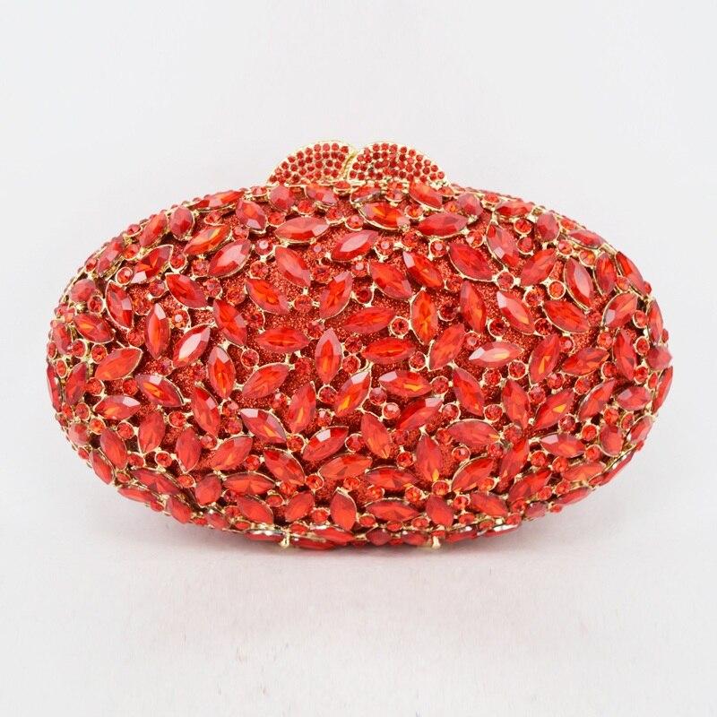 Bagaj ve Çantalar'ten Üstten Saplı Çanta'de Oval lüks akşam el çantası kırmızı El Sanatları kristal debriyaj çanta altın diamante kadın parti akşam çanta çanta SC154'da  Grup 3