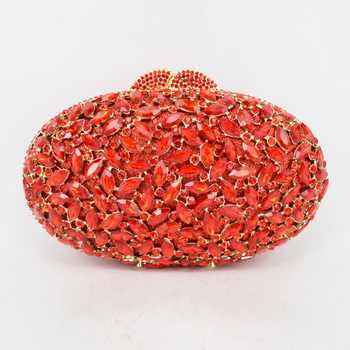 oval luxury evening clutch bags red Handcraft crystal clutch purse golden diamante women party evening bags handbags SC154