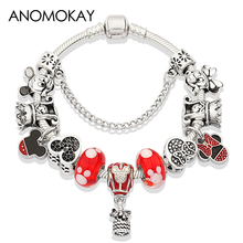 Anomokay Mickey Minnie Enamel Charm Pan Bracelet Red Crystal Bead for Women Girl Boy Gift Moda Mujer Pulsera 2019