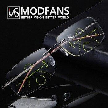 322bef85ca Multifocales gafas progresiva sin montura gafas de lectura de las mujeres  de los hombres matriz de transición de la lente de material de alta calidad  Marco ...