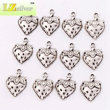 Strawberry With Leaf Spacer Charm Beads Pendants Alloy Handmade Jewelry DIY L930 25pcs 14.5x19.8mm Tibetan Silver