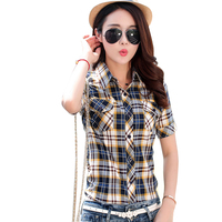 Brand New 2016 Summer Style Plaid Print Short Sleeve Shirts Women Plus Size Blouses Casual 100