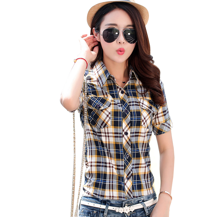 Brand New 2018 Summer Style Plaid Print Short Sleeve   Shirts   Women Plus Size   Blouses   Casual 100% Cotton Tops Blusas 14 Colors