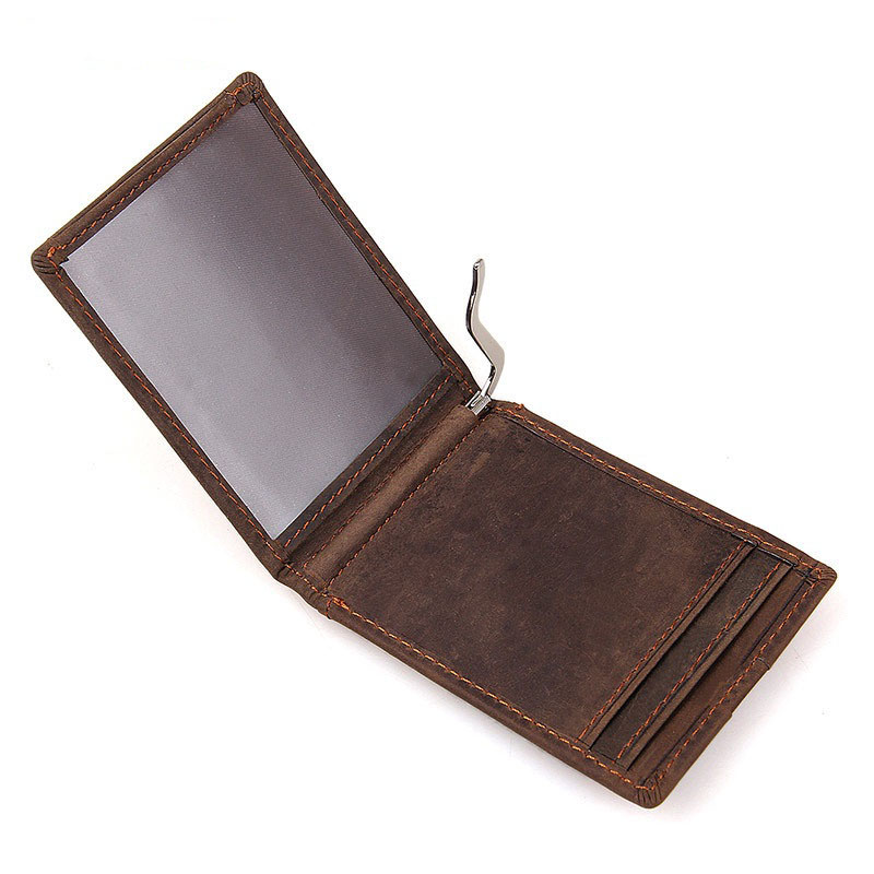 Wholesale Brand Money Clip Billfold Genuine Leather Business Card Organizer Cases Credit Card Wallets Pop Up Automatically