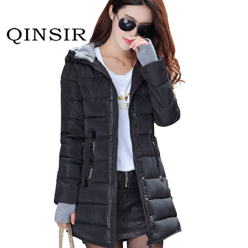 100% Quality Qinsir Women Winter Hooded Warm Coat Plus Size Candy Color Cotton Padded Jacket Female Long Parka Womens Wadded Jaqueta Feminina With Traditional Methods