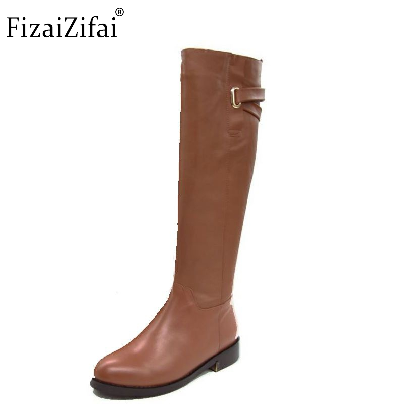 Size 35-43 Russia Winter Warm Over Knee Natrual Real Genuine Leather Low Heel Boots Women Snow Shoes Footwear Boots R1494-1 women real genuine leather square low heel over knee boots woman square toe warm winter shoes heeled footwear size 34 39