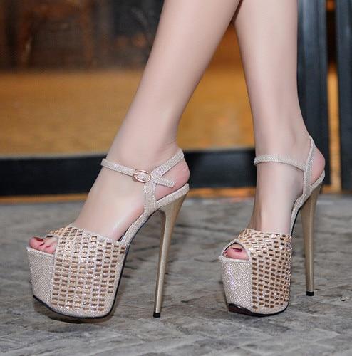 Odinokov 17cm High Heels Sequined Cloth Peep Toe Summer  Gladiator Sandals Women Black Rhinestone Heels Gold Womens Shoes