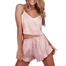 Sexy Summer Pajamas Sleepwear For Women Sleeveless Spaghetti Strap Nightwear Lac