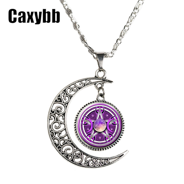 Caxybb triple moon goddess pendant jewelry moon goddess necklace caxybb triple moon goddess pendant jewelry moon goddess necklace pentagram choker necklaces for men and women mozeypictures Image collections
