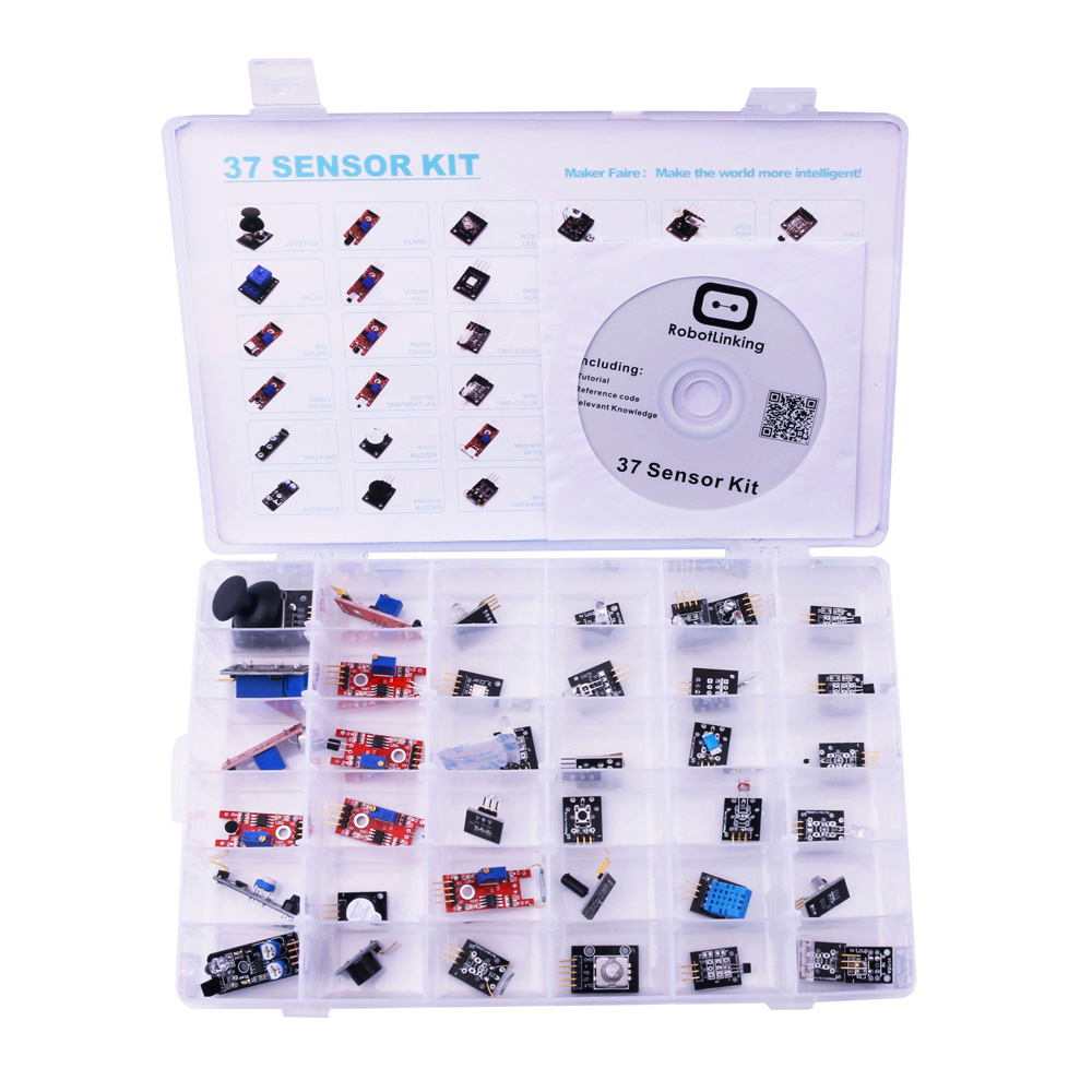 37 IN 1 BOX SENSOR KITS FOR ARDUINO HIGH-QUALITY WITH PLASTIC BOX AND CD FREE SHIPPING
