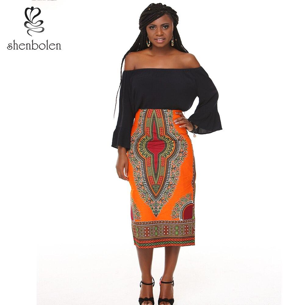 ac9b5ca60 Shenbolen جديد نمط المرأة الأفريقية طباعة عالية الخصر تنّورة مجسّمة عودة  الشق مع غير مرئية سستة laay تنورة