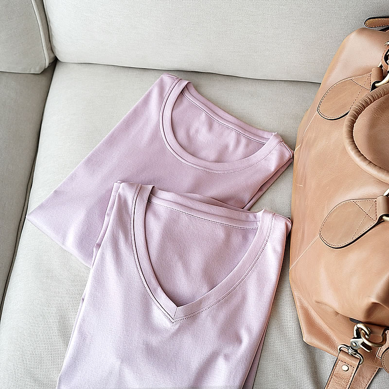70 Tipo de algodón mercerizado, manga corta, camiseta, seda, algodón y camiseta delgada.