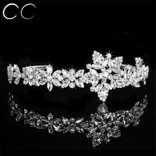Shining Flower Shape Top Crystal Tiaras for Women Wedding Engagement Party Bridal Crowns Jewelry Fashion Hair Accessories F037