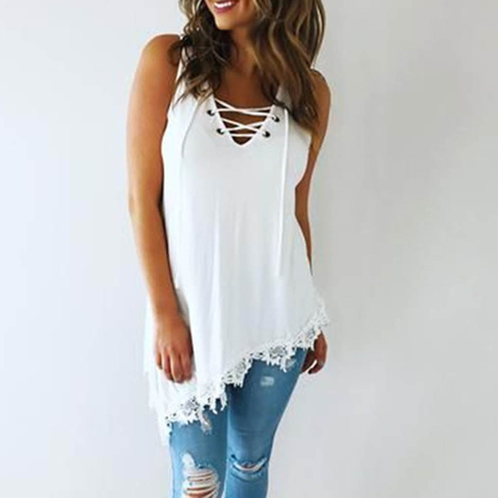 Fashion Daily Comfortable Summer Casual Women <font><b>Debardeur</b></font> <font><b>Femme</b></font> <font><b>Sexy</b></font> V-Neck Bandages Lace Up Patchwork Hem Sleeveless Tank Tops image